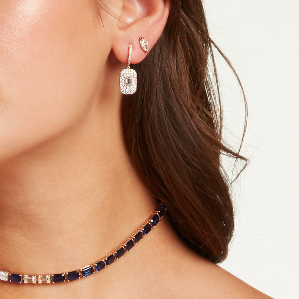 PAVE BLUE SAPPHIRE BAGUETTE DROP EARRINGS