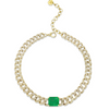 EMERALD SOLITAIRE PAVE GEO LINK NECKLACE