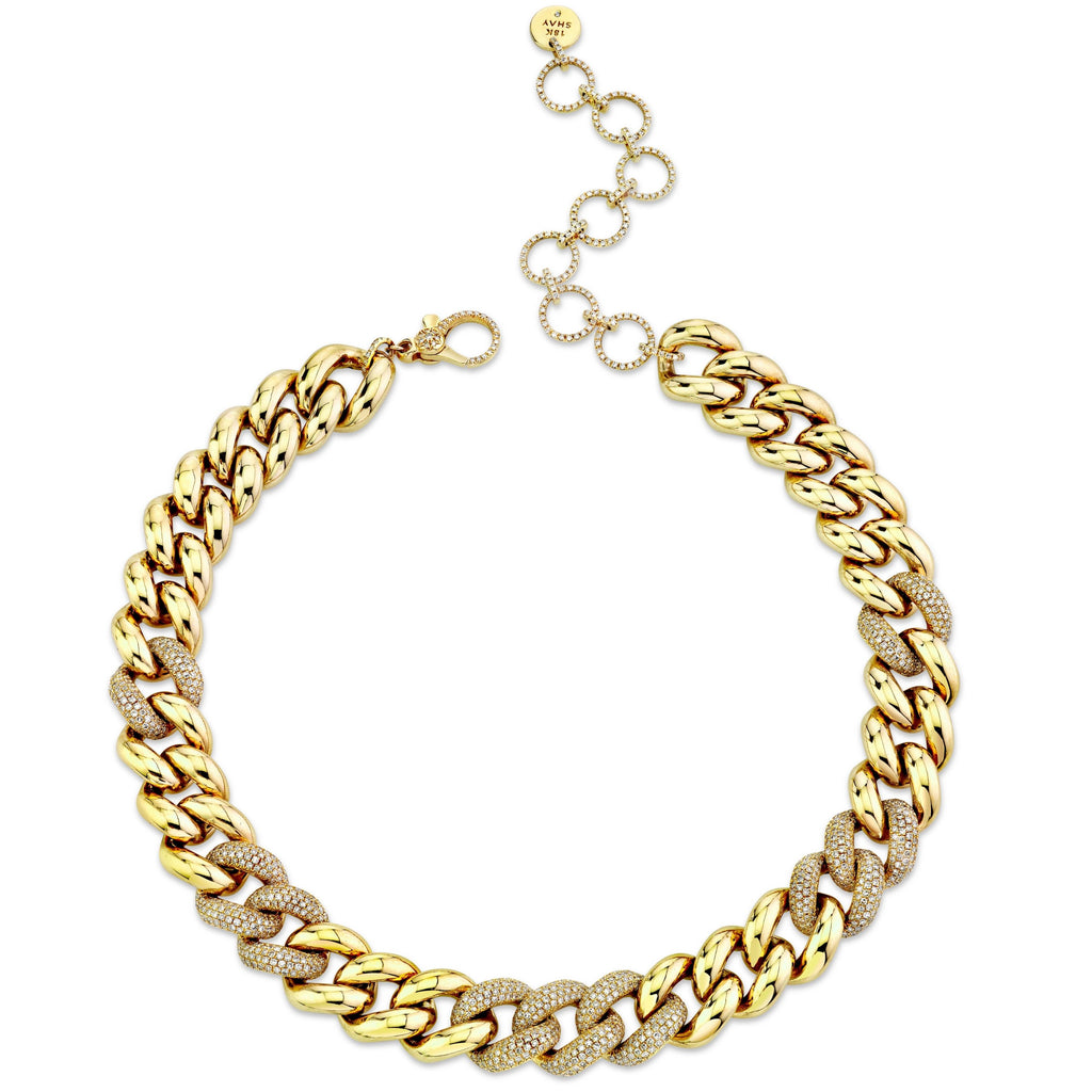 DIAMOND ALTERNATING PAVE JUMBO LINK NECKLACE