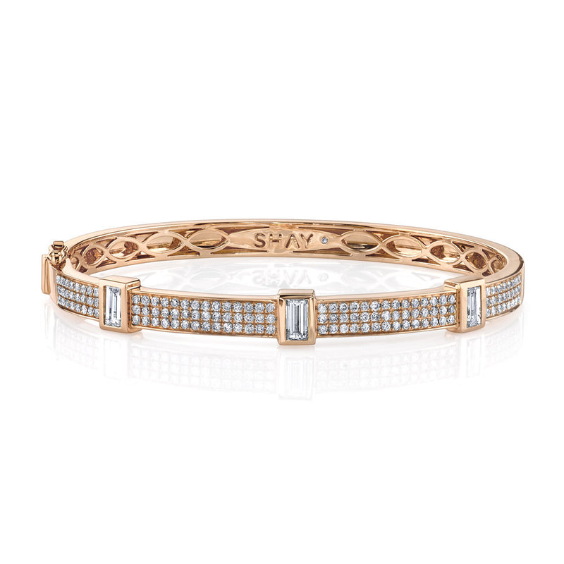 DIAMOND TRIPLE BEZEL BAGUETTE BANGLE