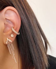 STAGGERED BAGUETTE FRINGE EARRINGS
