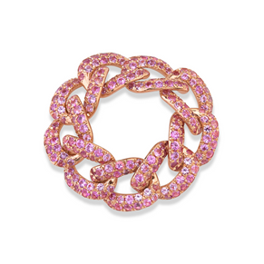 PINK SAPPHIRE PAVE ESSENTIAL LINK RING