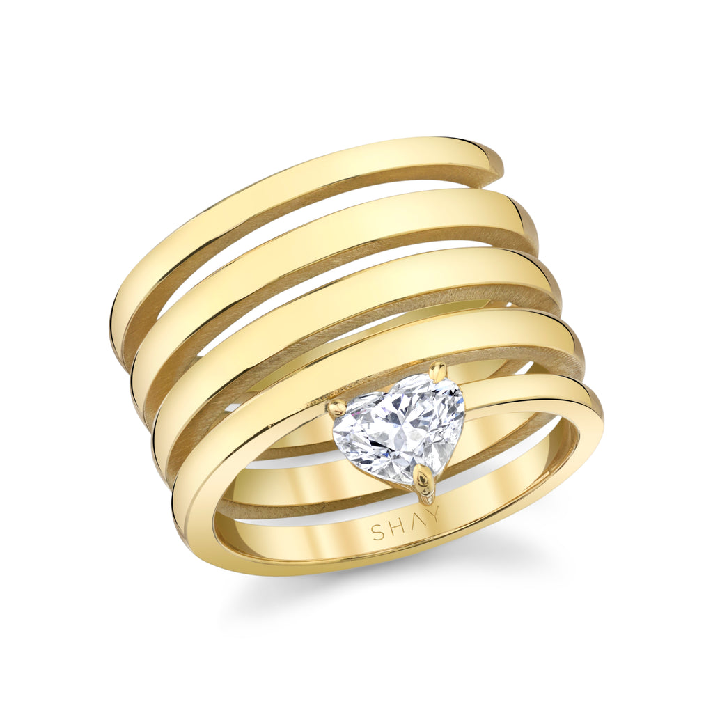 READY TO SHIP SOLID GOLD DIAMOND HEART SPIRAL RING