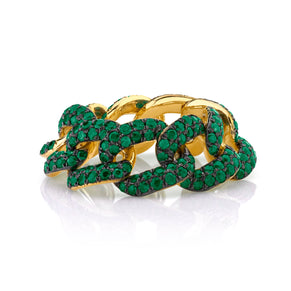 READY TO SHIP GREEN GARNET PAVE ESSENTIAL LINK RING