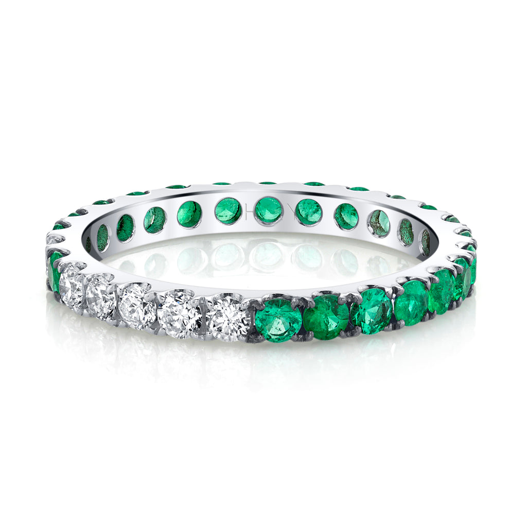 EMERALD OMBRE ETERNITY BAND