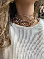 PAVE MINI LINK CHOKER WITH HEART DIAMOND CENTER