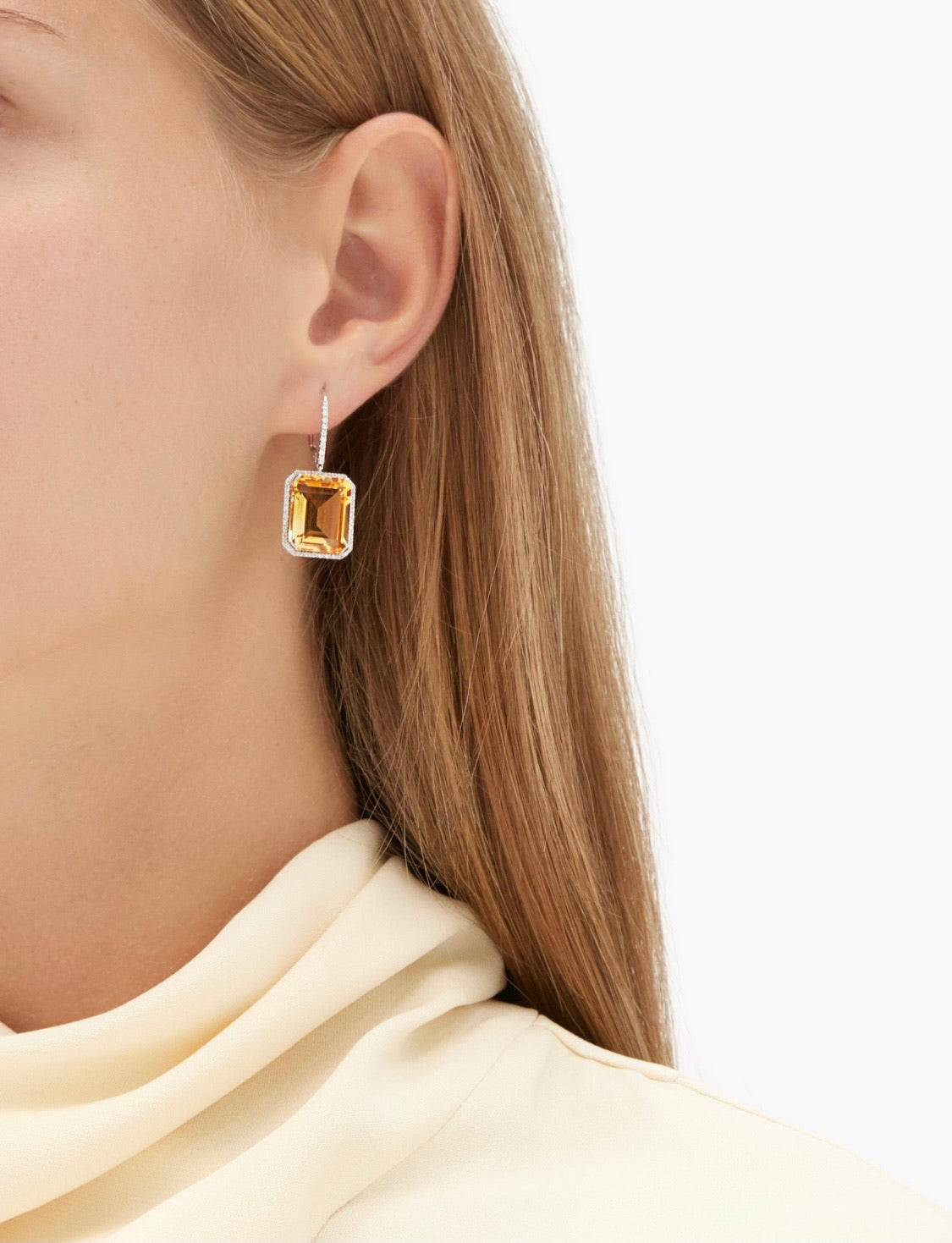 YELLOW TOPAZ PORTRAIT  EARRINGS