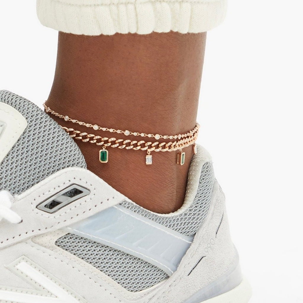 DIAMOND & EMERALD BAGUETTE DROP LINK ANKLET