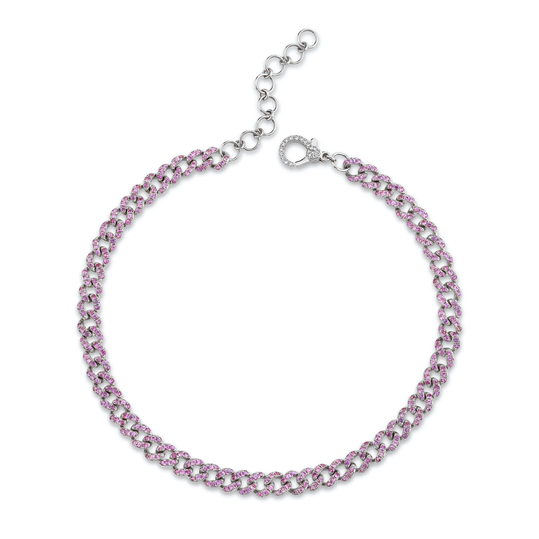 PINK SAPPHIRE MINI LINK ANKLET