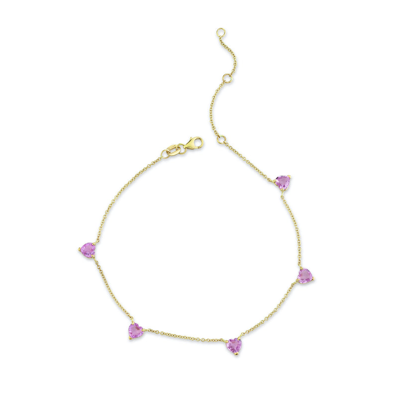 5 HEART PINK SAPPHIRE ANKLET