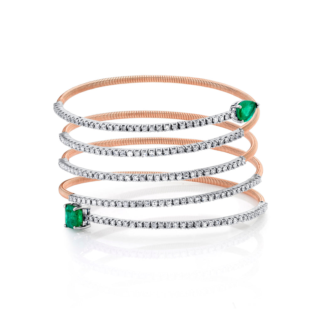 EMERALD &  DIAMOND SERPENTINE SLINKY BRACELET
