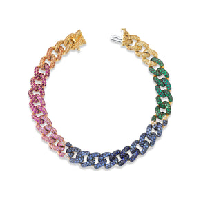 READY TO SHIP RAINBOW PAVE MEDIUM LINK BRACELET