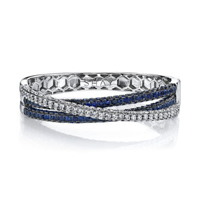BLUE SAPPHIRE 3 SIDED ORBIT BANGLE