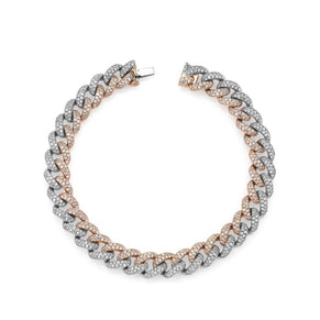DIAMOND TWO-TONE MEDIUM PAVE LINK BRACELET