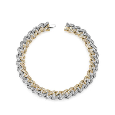 TWO-TONE MEDIUM PAVE LINK BRACELET