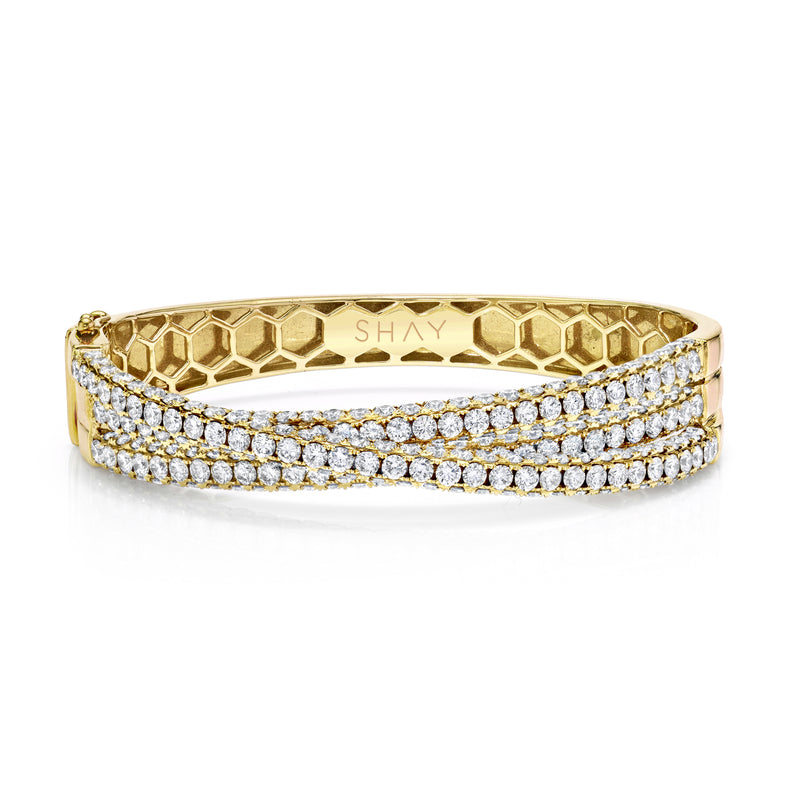 3 SIDED DIAMOND ORBIT BANGLE