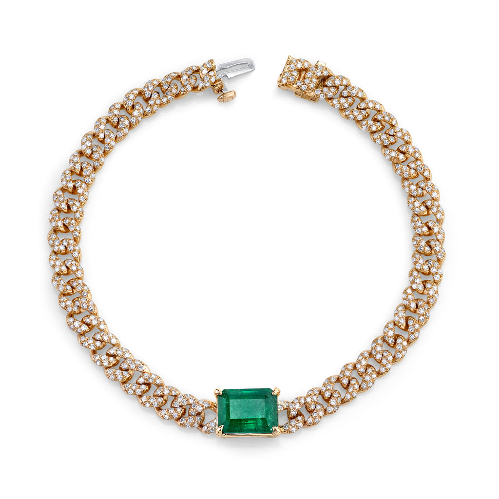 EMERALD CENTER PAVE MINI LINK BRACELET