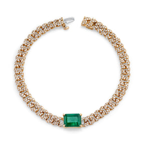 READY TO SHIP EMERALD CENTER MINI LINK BRACELET