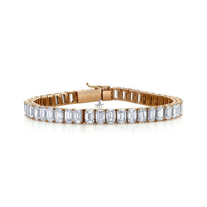 DIAMOND EMERALD CUT TENNIS BRACELET, 28cts