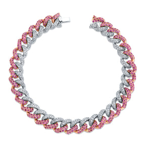 PINK SAPPHIRE & DIAMOND TWO-TONE PAVE MEDIUM LINK BRACELET