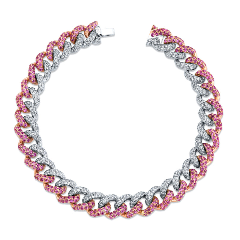 PINK SAPPHIRE & DIAMOND TWO-TONE MEDIUM PAVE LINK BRACELET