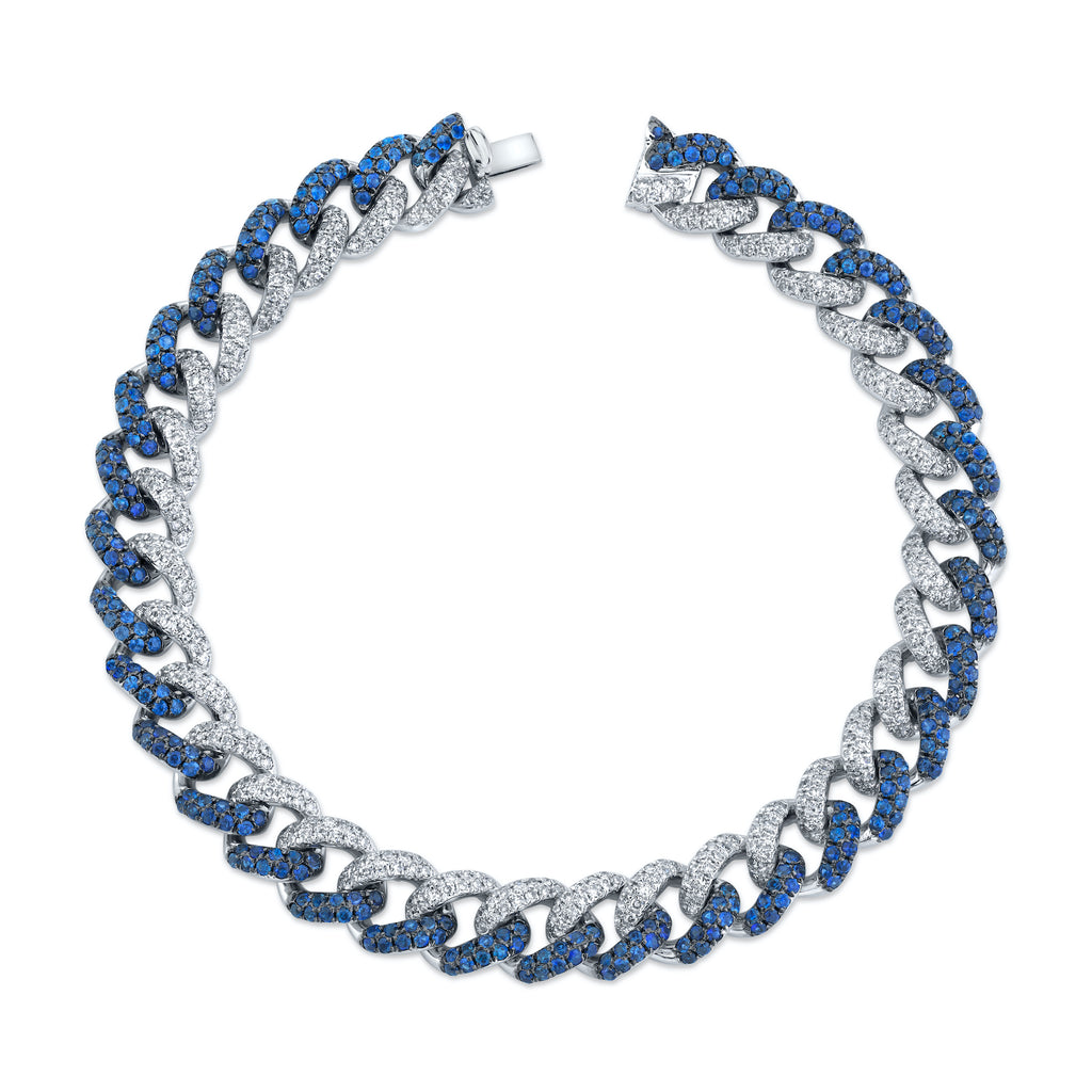 BLUE SAPPHIRE & DIAMOND TWO-TONE MEDIUM PAVE LINK BRACELET