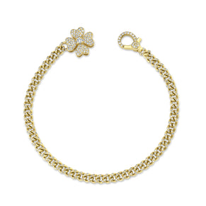 DIAMOND FOUR LEAF CLOVER PAVE LINK BRACELET