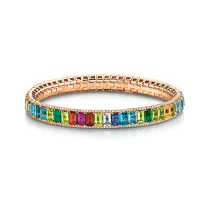 PAVE BORDER RAINBOW ETERNITY STRETCH BRACELET