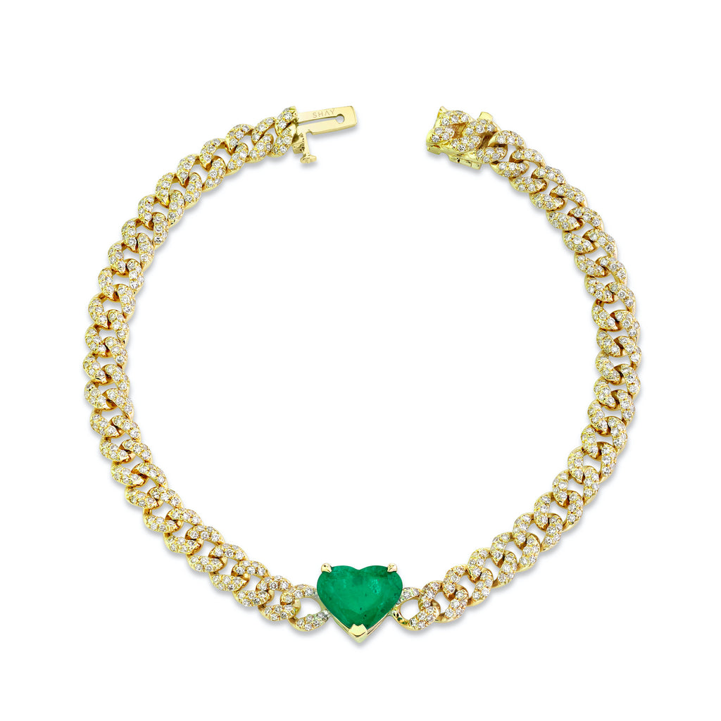 EMERALD HEART PAVE MINI LINK BRACELET
