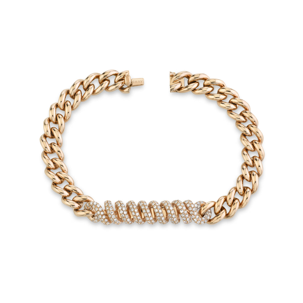 DIAMOND PAVE SPIRAL MEDIUM LINK BRACELET