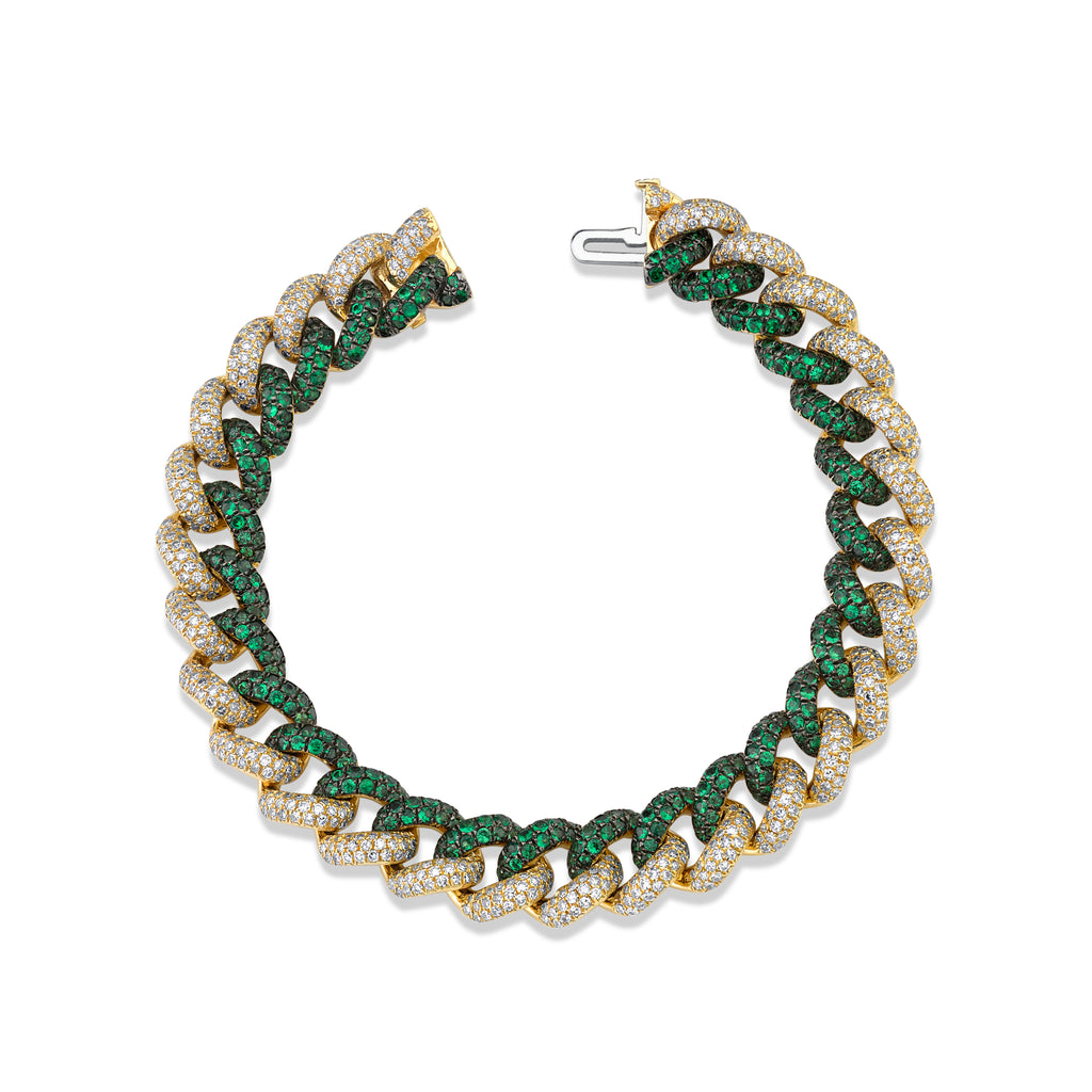 DIAMOND & GREEN GARNET PAVE TWO-TONE ESSENTIAL LINK BRACELET