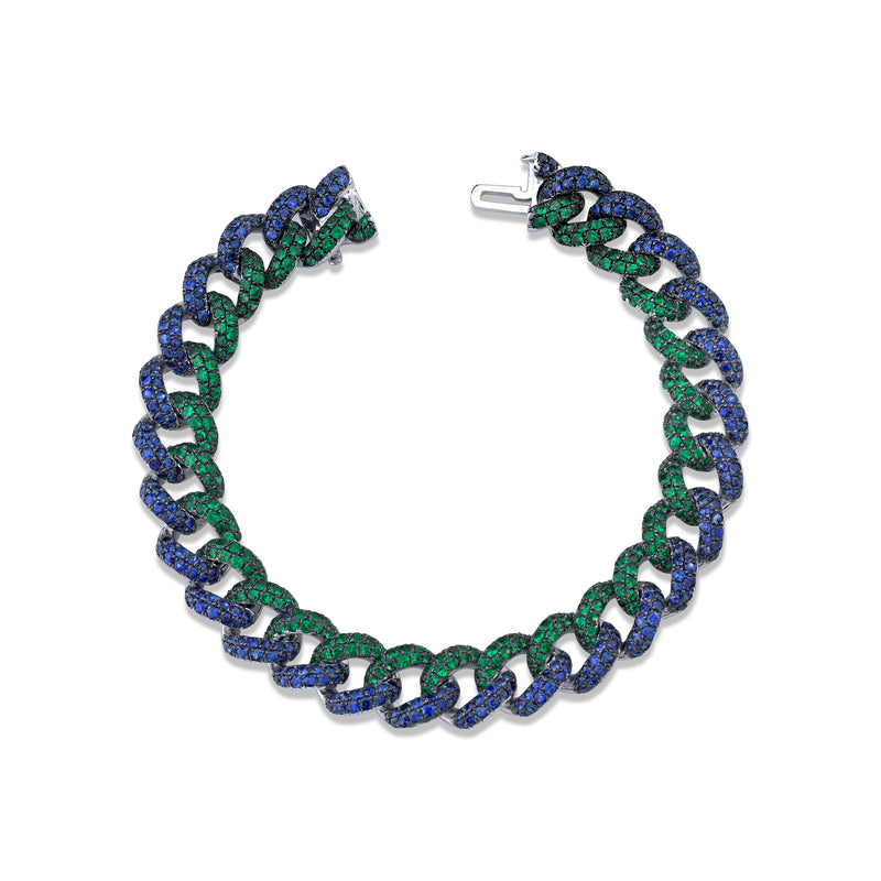 READY TO SHIP EMERALD & BLUE SAPPHIRE PAVE TWO-TONE ESSENTIAL LINK BRACELET