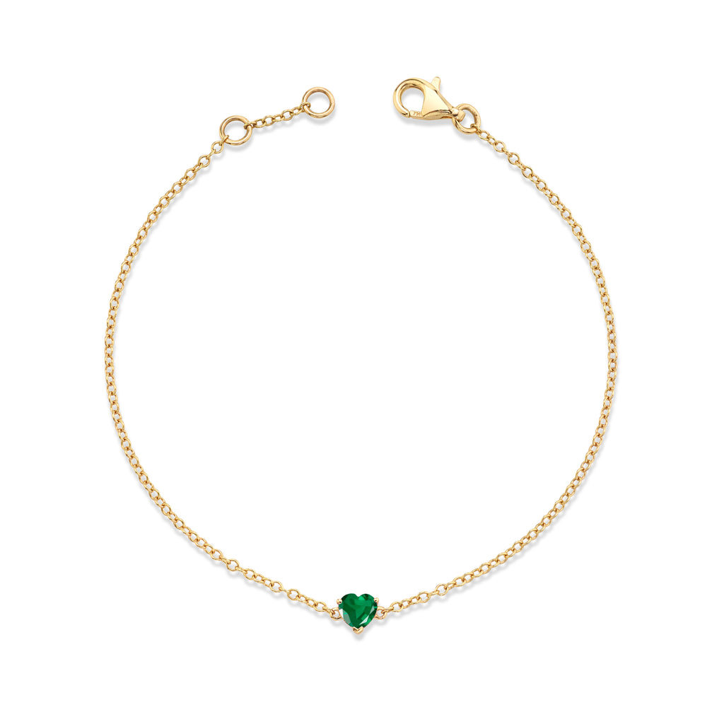 READY TO SHIP EMERALD BABY HEART BRACELET