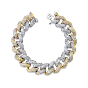 READY TO SHIP TWO-TONE JUMBO PAVE LINK BRACELET
