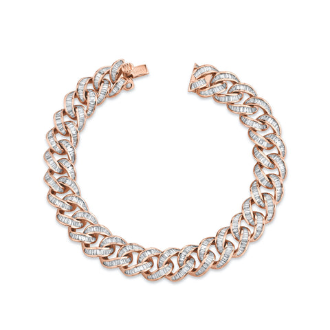 FULL PAVE ROPE BRACELET WITH TRIPLE LINK ACCENT