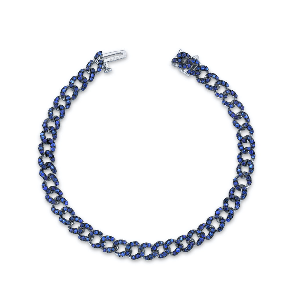 READY TO SHIP BLUE SAPPHIRE PAVE MINI LINK BRACELET