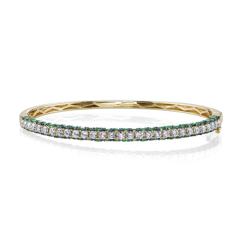 DIAMOND & SAPPHIRE 3 SIDED BANGLE, 1/2
