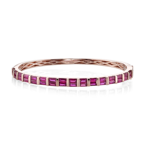 DIAMOND & GEMSTONE 3 SIDED BANGLE, 1/2