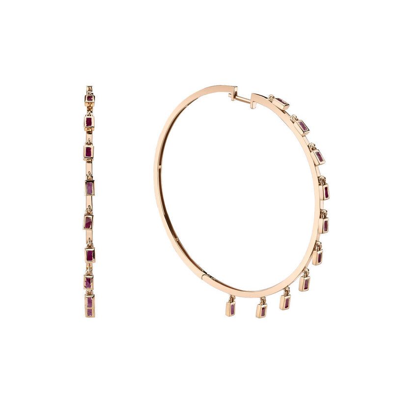 GEMSTONE BAGUETTE DANGLE HOOPS