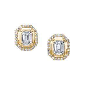 PAVE HALO EMERALD CUT ILLUSION STUDS