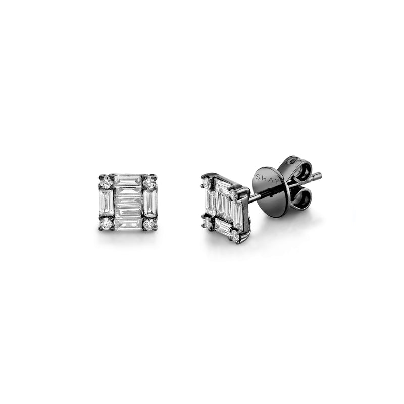 SQUARE STACKED BAGUETTE STUDS