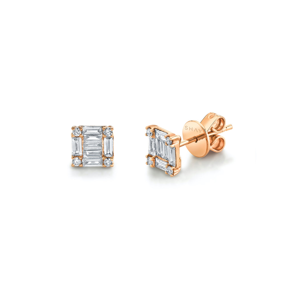 READY TO SHIP SQUARE STACKED BAGUETTE STUDS