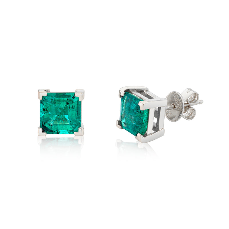 EMERALD SQUARE SOLITAIRE STUDS