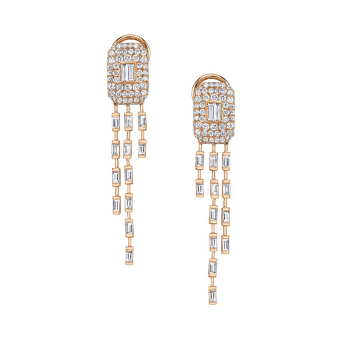 PAVE GEMSTONE BAGUETTE DROP EARRINGS