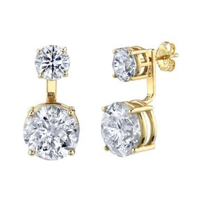 DOUBLE DIAMOND OVAL EAR JACKET STUDS
