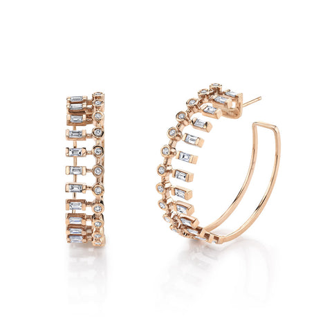 DIAMOND FISHBONE DROP EARRING