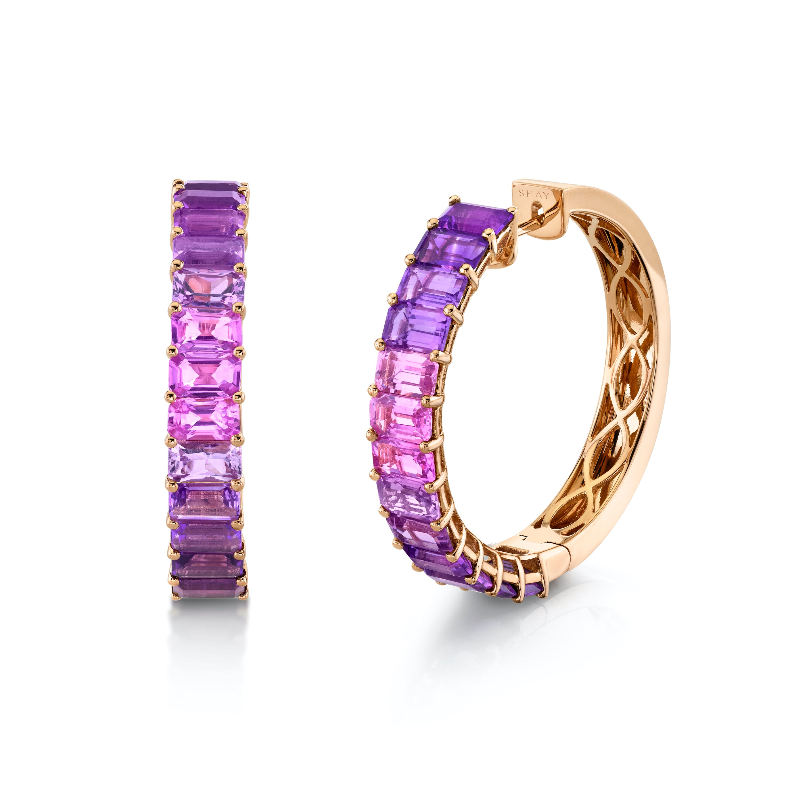 READY TO SHIP AMETHYST OMBRE ETERNITY HOOPS