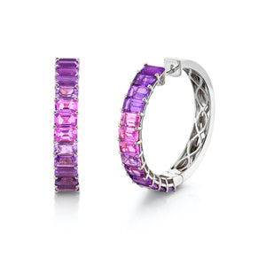 AMETHYST OMBRE ETERNITY HOOPS