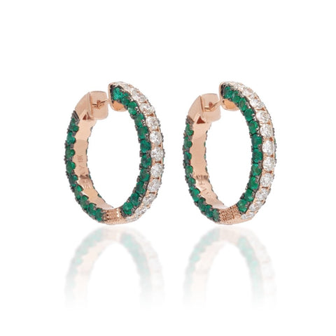 GEMSTONE EMERALD CUT HOOPS