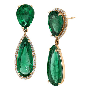 COLOMBIAN EMERALD TEARDROP EARRINGS